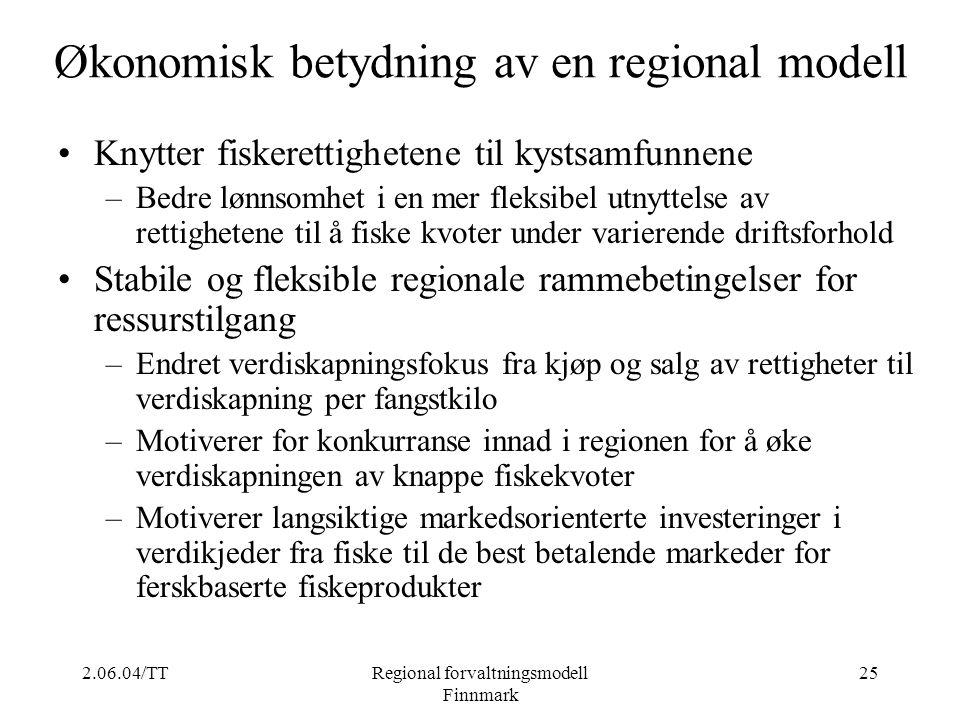 2.06.04/TTRegional forvaltningsmodell Finnmark 25 Økonomisk betydning av en regional modell Knytter fiskerettighetene til kystsamfunnene –Bedre lønnso