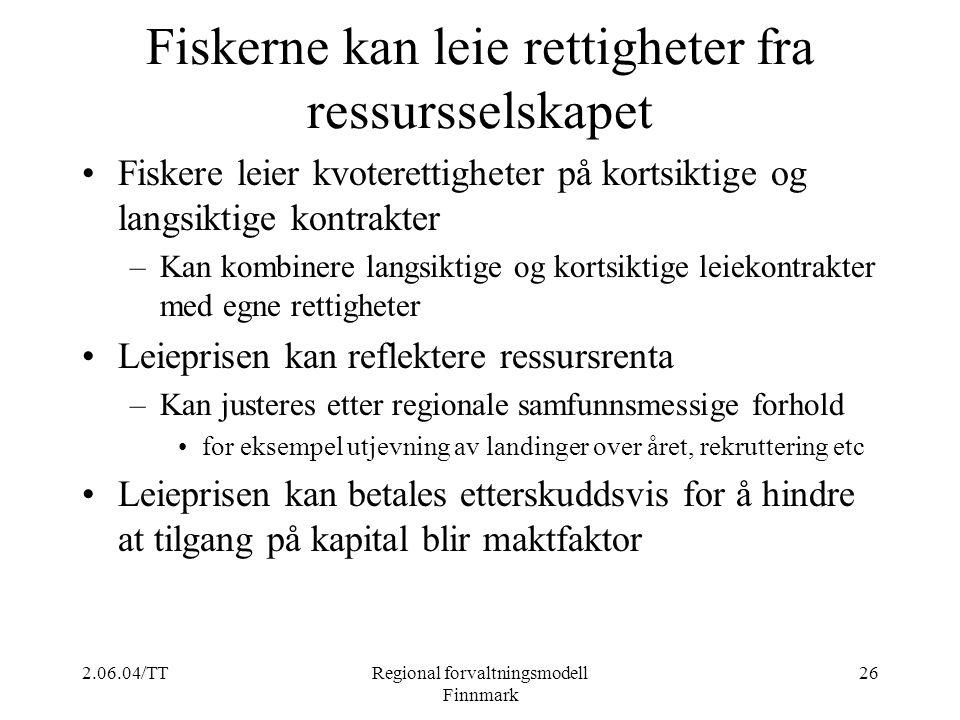 2.06.04/TTRegional forvaltningsmodell Finnmark 26 Fiskerne kan leie rettigheter fra ressursselskapet Fiskere leier kvoterettigheter på kortsiktige og