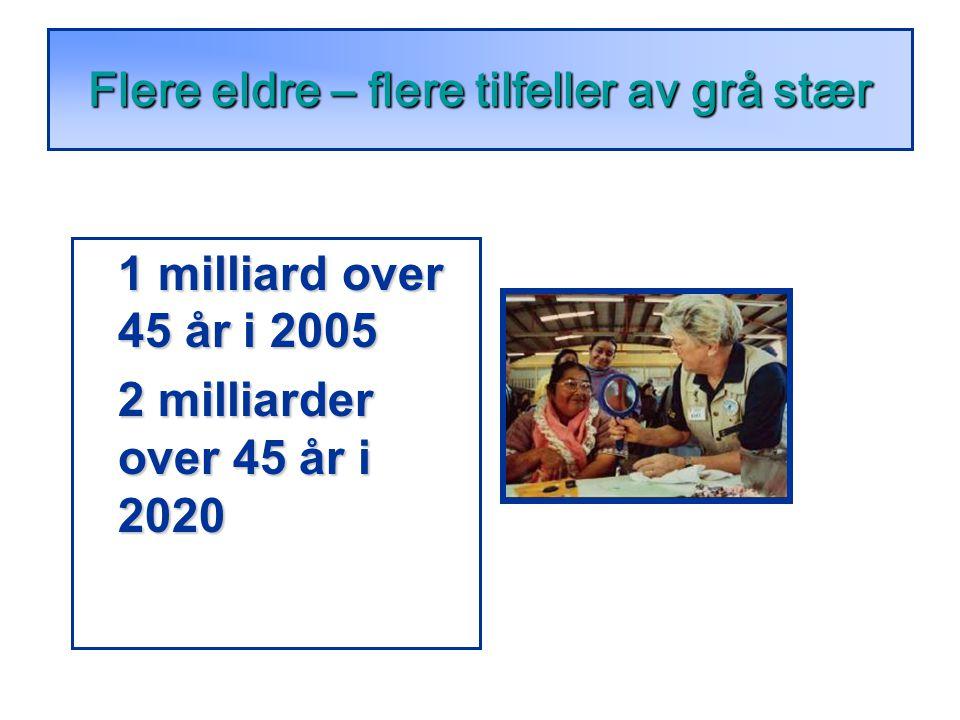1 milliard over 45 år i 2005 2 milliarder over 45 år i 2020 Flere eldre – flere tilfeller av grå stær