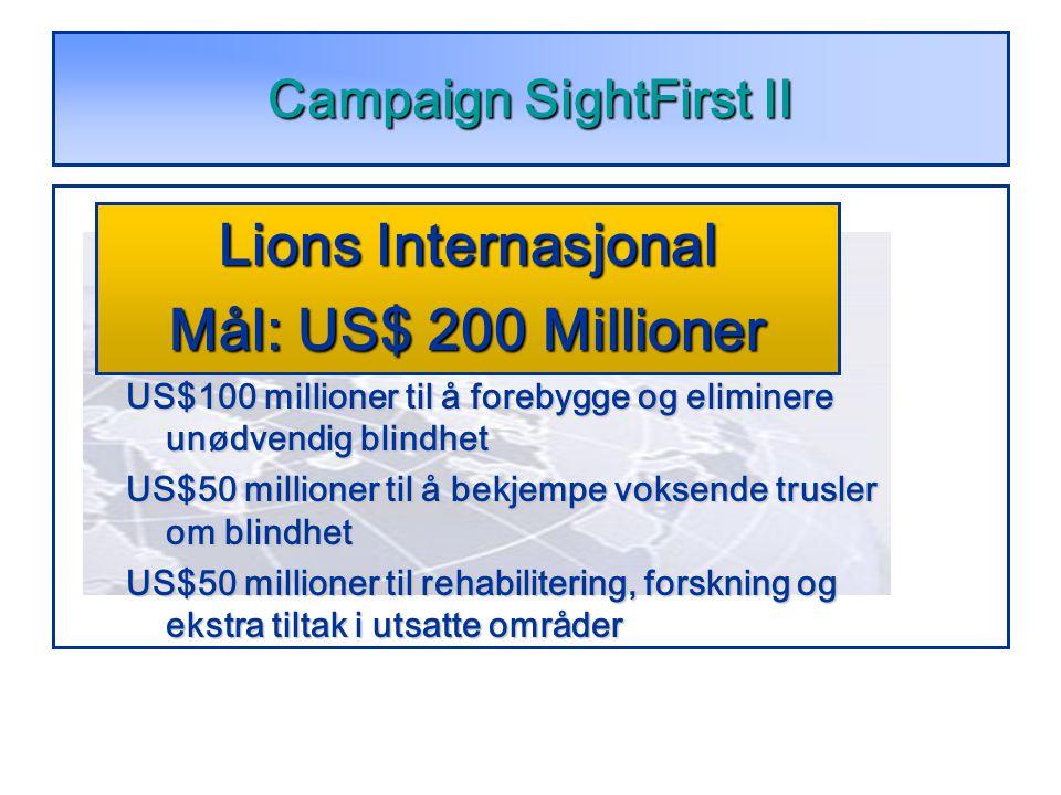 Campaign SightFirst II US$100 millioner til å forebygge og eliminere unødvendig blindhet US$50 millioner til å bekjempe voksende trusler om blindhet US$50 millioner til rehabilitering, forskning og ekstra tiltak i utsatte områder Lions Internasjonal Mål: US$ 200 Millioner