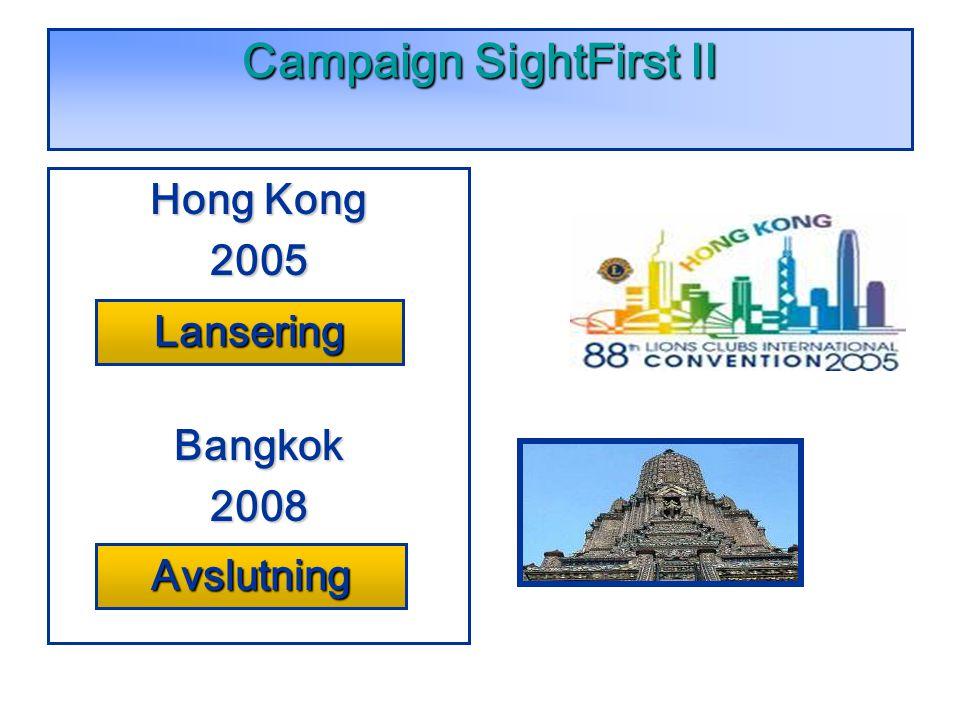 Campaign SightFirst II Hong Kong 2005LaunchBangkok2008Celebration! Lansering Avslutning