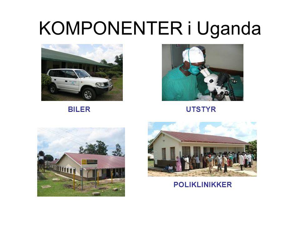 KOMPONENTER i Uganda BILERUTSTYR ØYEAVDELINGER POLIKLINIKKER