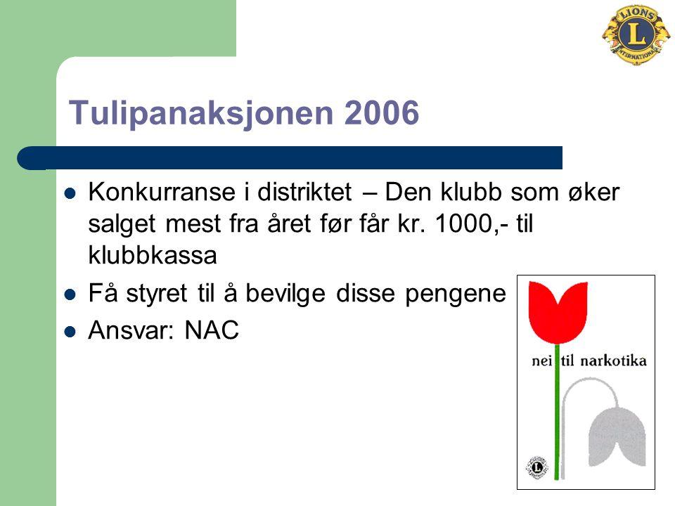 Tulipanaksjonen 2006 Konkurranse i distriktet – Den klubb som øker salget mest fra året før får kr.