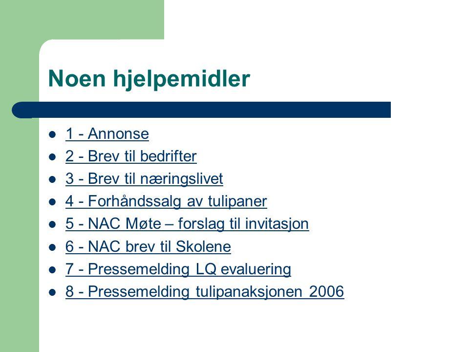 Noen hjelpemidler 1 - Annonse 2 - Brev til bedrifter 3 - Brev til næringslivet 4 - Forhåndssalg av tulipaner 5 - NAC Møte – forslag til invitasjon 6 - NAC brev til Skolene 7 - Pressemelding LQ evaluering 8 - Pressemelding tulipanaksjonen 2006