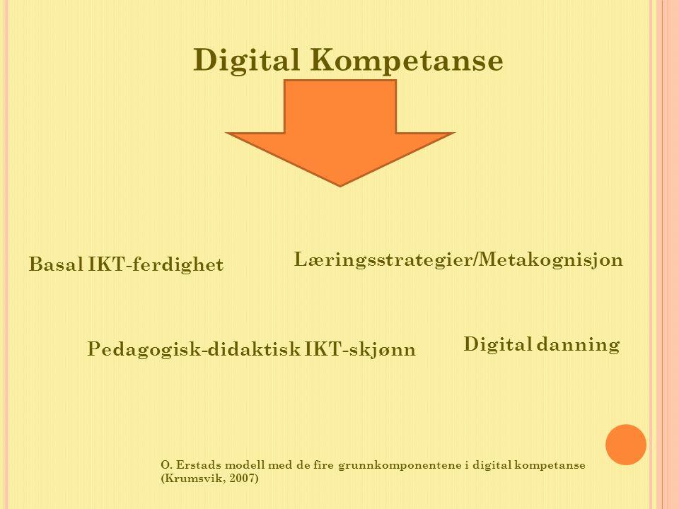 Basal IKT-ferdighet Pedagogisk-didaktisk IKT-skjønn Læringsstrategier/Metakognisjon Digital danning Digital Kompetanse O. Erstads modell med de fire g