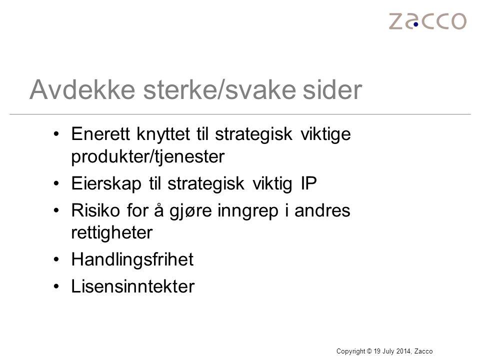 Copyright © 19 July 2014, Zacco Avdekke sterke/svake sider Enerett knyttet til strategisk viktige produkter/tjenester Eierskap til strategisk viktig I