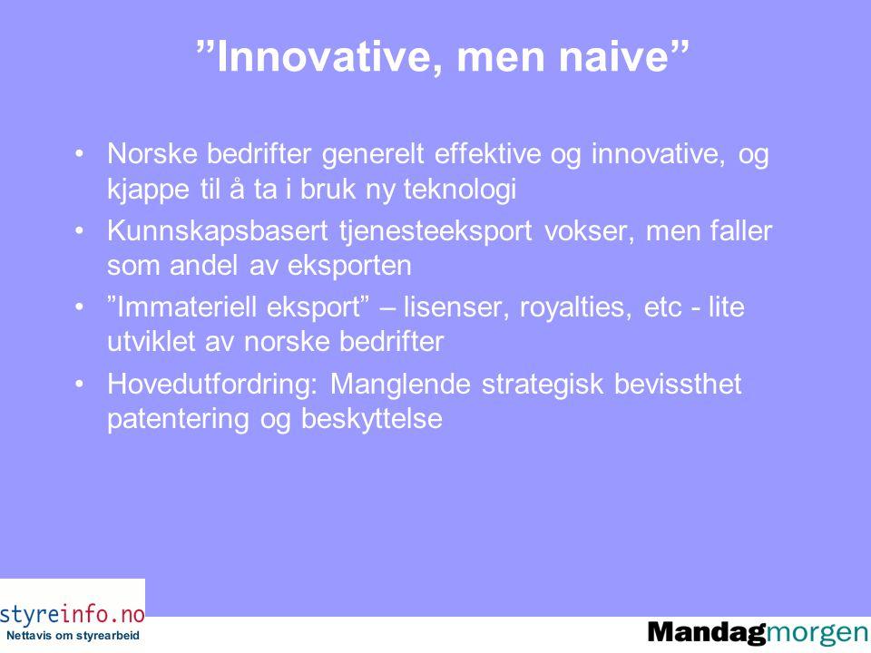 Innovative, men naive Norske bedrifter generelt effektive og innovative, og kjappe til å ta i bruk ny teknologi Kunnskapsbasert tjenesteeksport vokser, men faller som andel av eksporten Immateriell eksport – lisenser, royalties, etc - lite utviklet av norske bedrifter Hovedutfordring: Manglende strategisk bevissthet patentering og beskyttelse