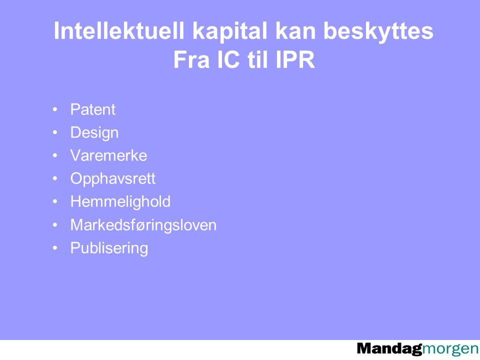 Intellektuell kapital kan beskyttes Fra IC til IPR Patent Design Varemerke Opphavsrett Hemmelighold Markedsføringsloven Publisering