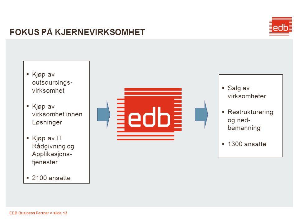 EDB Business Partner > slide 12 FOKUS PÅ KJERNEVIRKSOMHET  Kjøp av outsourcings- virksomhet  Kjøp av virksomhet innen Løsninger  Kjøp av IT Rådgivn