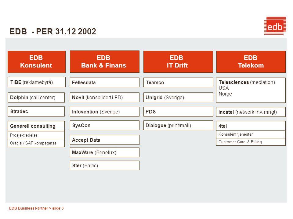 EDB Business Partner > slide 3 EDB - PER 31.12 2002 EDB Telekom EDB IT Drift EDB Bank & Finans EDB Konsulent TIBE (reklamebyrå) Dolphin (call center)