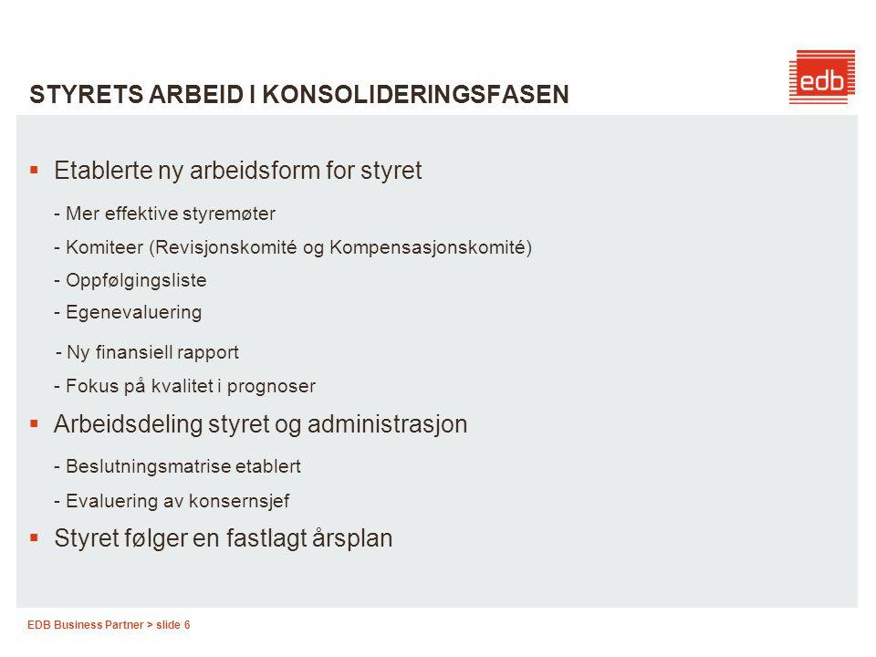 EDB Business Partner > slide 6 STYRETS ARBEID I KONSOLIDERINGSFASEN  Etablerte ny arbeidsform for styret - Mer effektive styremøter - Komiteer (Revis