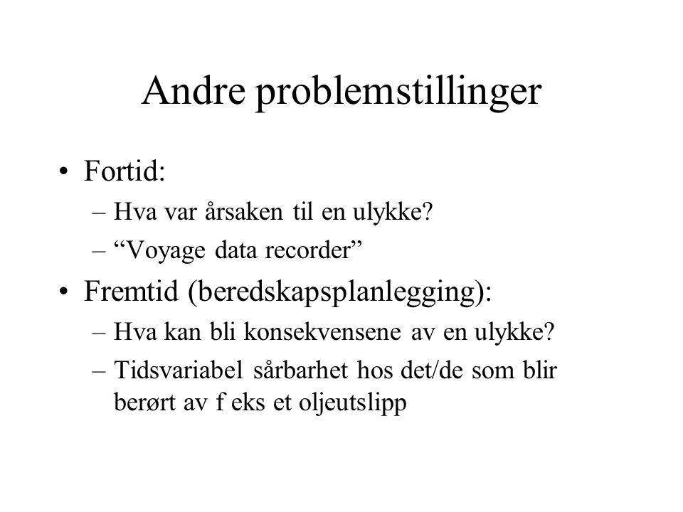 """Andre problemstillinger Fortid: –Hva var årsaken til en ulykke? –""""Voyage data recorder"""" Fremtid (beredskapsplanlegging): –Hva kan bli konsekvensene av"""