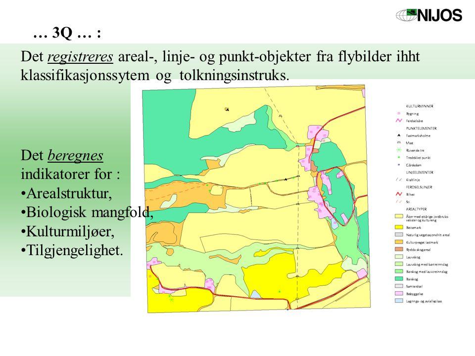Det registreres areal-, linje- og punkt-objekter fra flybilder ihht klassifikasjonssytem og tolkningsinstruks.