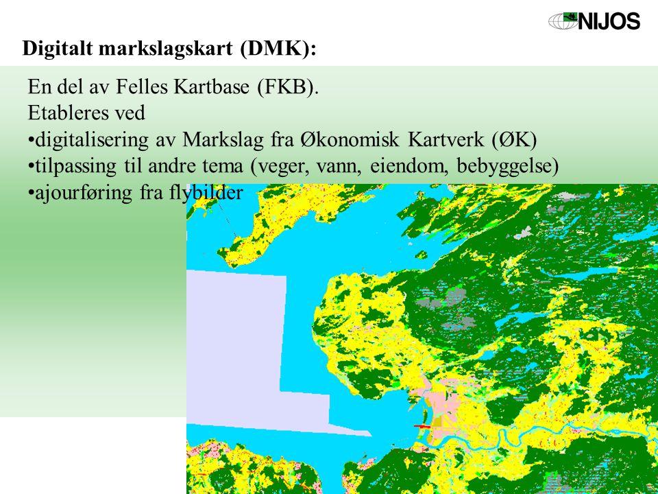 Digitalt markslagskart (DMK): En del av Felles Kartbase (FKB). Etableres ved digitalisering av Markslag fra Økonomisk Kartverk (ØK) tilpassing til and