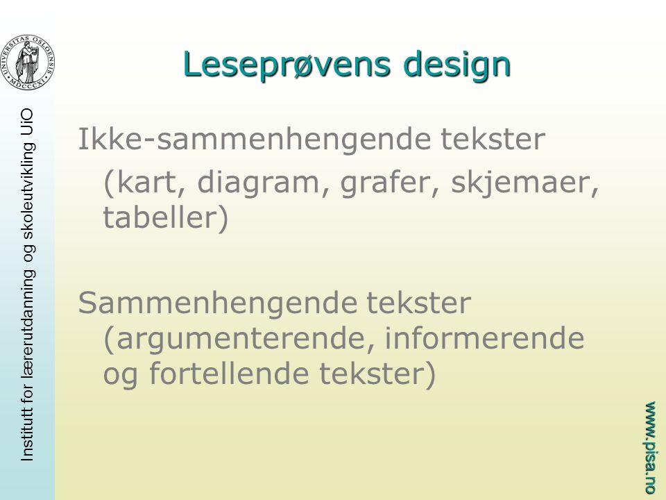 www.pisa.no Institutt for lærerutdanning og skoleutvikling UiO Leseprøvens design Ikke-sammenhengende tekster (kart, diagram, grafer, skjemaer, tabell