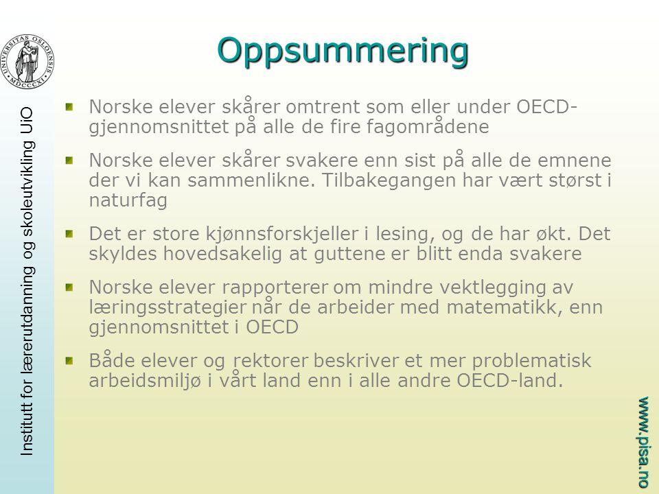 www.pisa.no Institutt for lærerutdanning og skoleutvikling UiO Oppsummering Norske elever skårer omtrent som eller under OECD- gjennomsnittet på alle