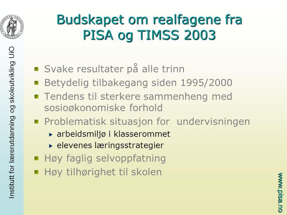 www.pisa.no Institutt for lærerutdanning og skoleutvikling UiO Budskapet om realfagene fra PISA og TIMSS 2003 Svake resultater på alle trinn Betydelig