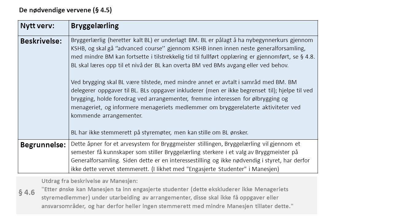 Nytt verv:Bryggelærling Beskrivelse: Bryggerlærlig (heretter kalt BL) er underlagt BM.