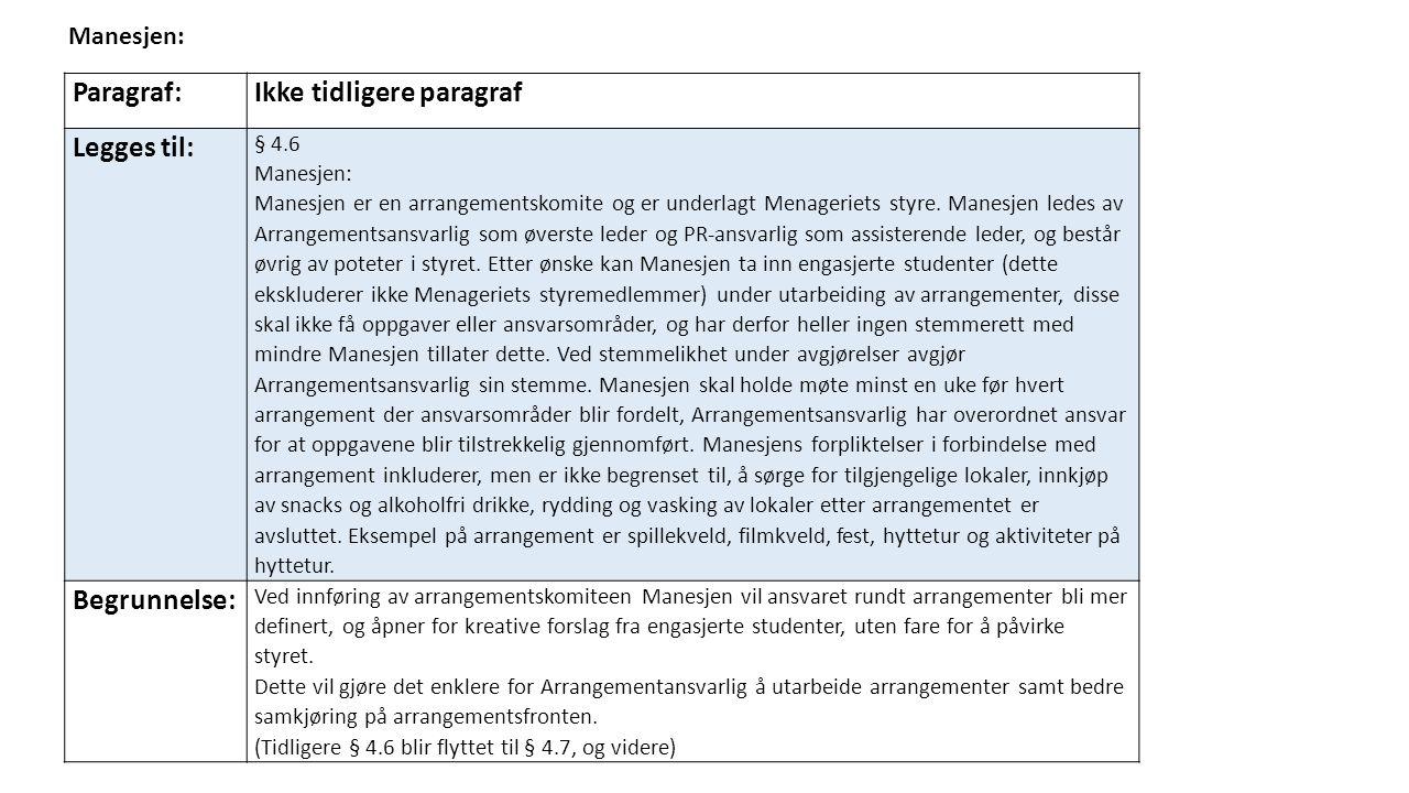 Paragraf:Ikke tidligere paragraf Legges til: § 4.6 Manesjen: Manesjen er en arrangementskomite og er underlagt Menageriets styre.