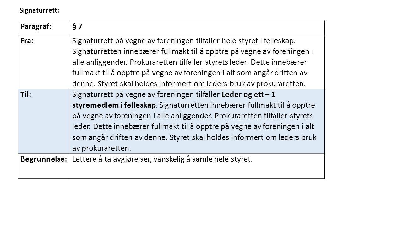 Signaturrett: Paragraf:§ 7 Fra: Signaturrett på vegne av foreningen tilfaller hele styret i felleskap.