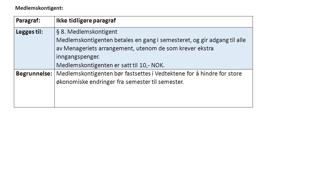 Medlemskontigent: Paragraf:Ikke tidligere paragraf Legges til: § 8.