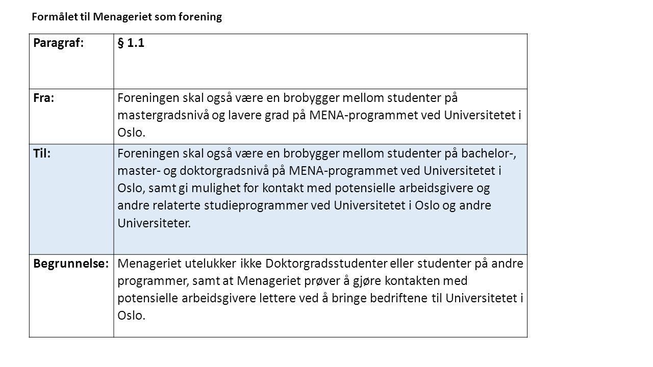 Paragraf:§ 1.1 Fra: Foreningen skal også være en brobygger mellom studenter på mastergradsnivå og lavere grad på MENA-programmet ved Universitetet i Oslo.