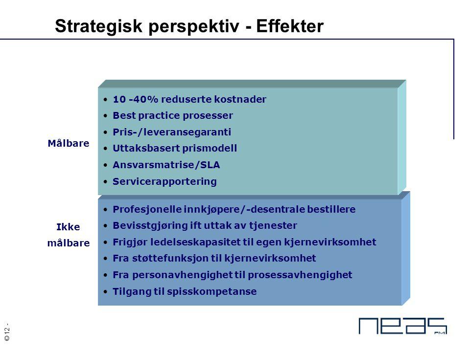 © 12 - Strategisk perspektiv - Effekter Målbare Ikke målbare 10 -40% reduserte kostnader Best practice prosesser Pris-/leveransegaranti Uttaksbasert p