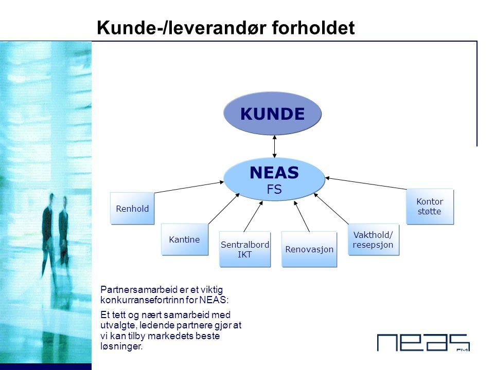 © 8 - Kunde-/leverandør forholdet KUNDE NEAS FS Renhold Kantine Sentralbord IKT Vakthold/ resepsjon Kontor støtte Renovasjon Partnersamarbeid er et vi