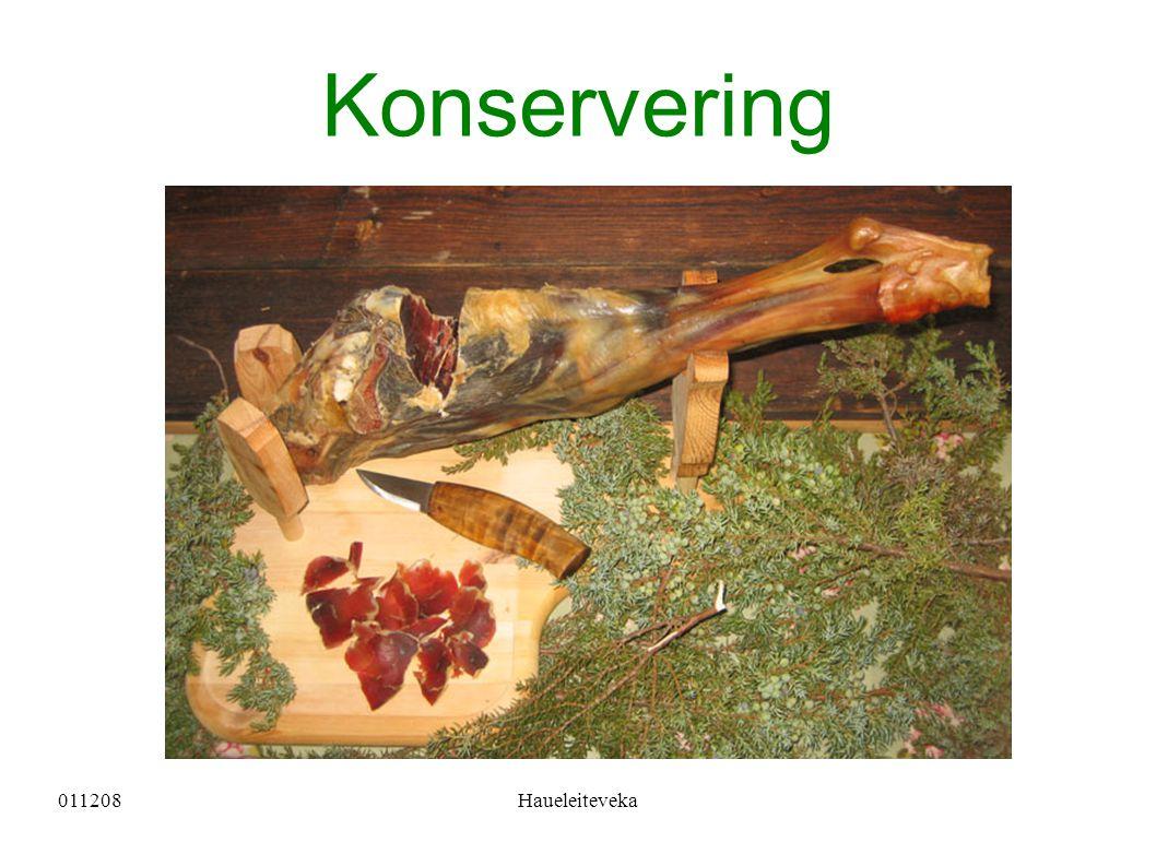 011208Haueleiteveka Konservering av kjøt Salting Lakesalting Tørrsalting Tørking Eldste måten å konservere på Røyking Varmrøyking Kaldrøyking Røyking med syre Hermetisering