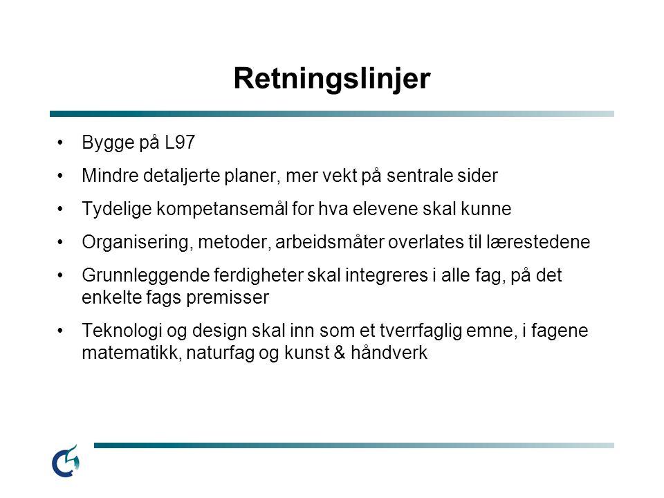 Retningslinjer Bygge på L97 Mindre detaljerte planer, mer vekt på sentrale sider Tydelige kompetansemål for hva elevene skal kunne Organisering, metod