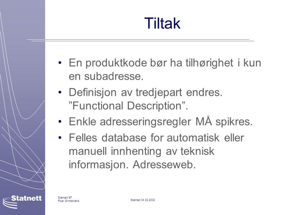 Statnett 04.02.2002 Statnett SF Roar Grindstrand Tiltak En produktkode bør ha tilhørighet i kun en subadresse.