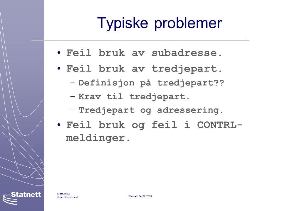 Statnett 04.02.2002 Statnett SF Roar Grindstrand Typiske problemer Feil bruk av subadresse.