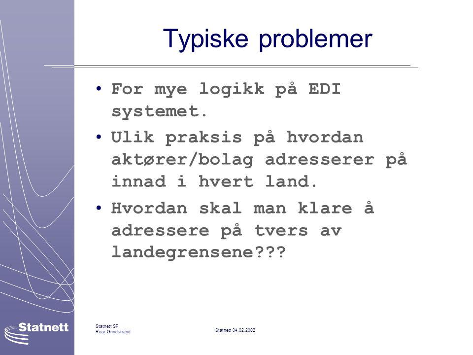 Statnett 04.02.2002 Statnett SF Roar Grindstrand Typiske problemer For mye logikk på EDI systemet.