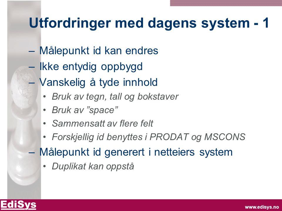www.edisys.no Utfordringer med dagens system - 1 –Målepunkt id kan endres –Ikke entydig oppbygd –Vanskelig å tyde innhold Bruk av tegn, tall og boksta