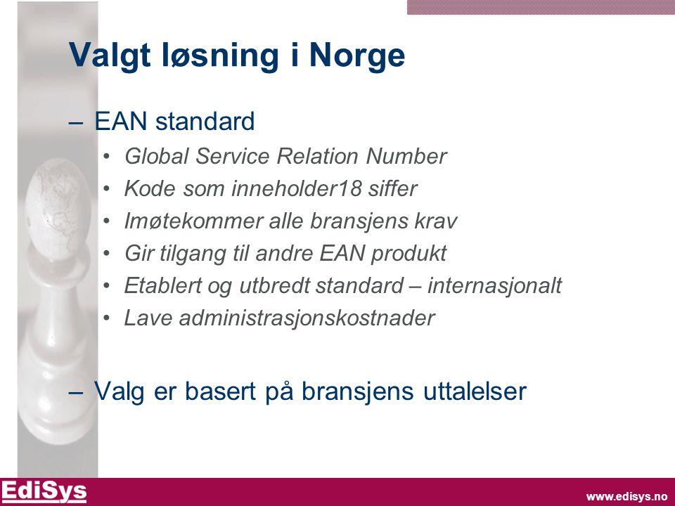 www.edisys.no Valgt løsning i Norge –EAN standard Global Service Relation Number Kode som inneholder18 siffer Imøtekommer alle bransjens krav Gir tilg