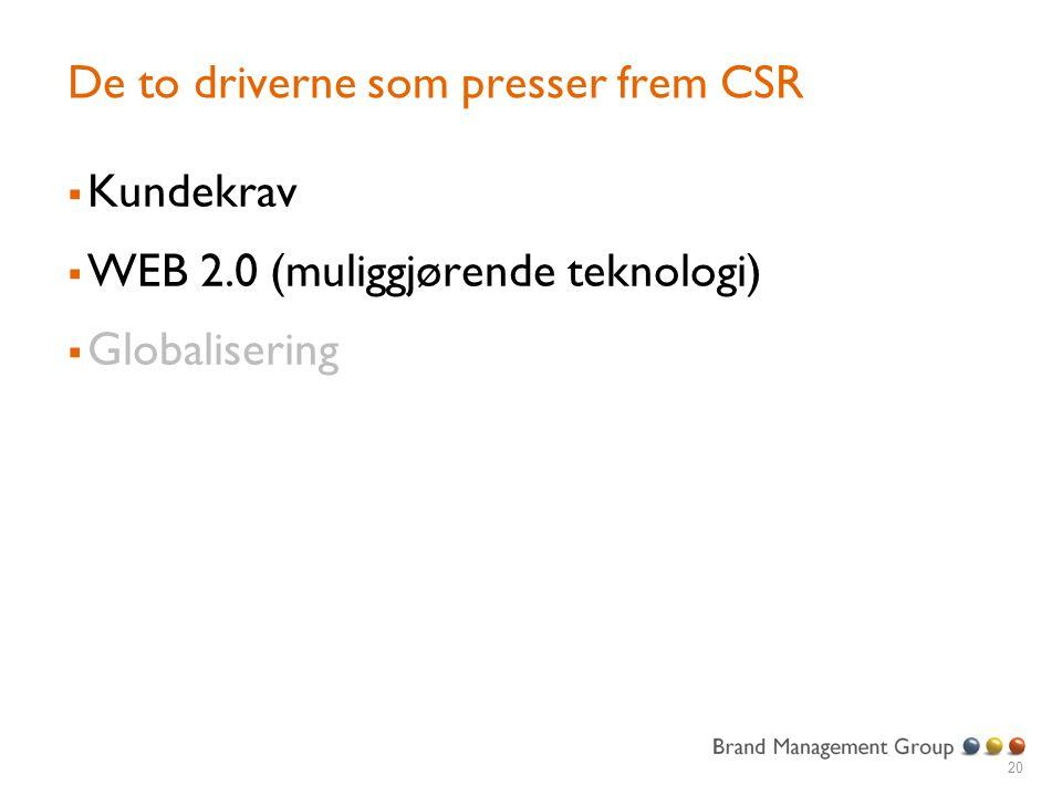 De to driverne som presser frem CSR  Kundekrav  WEB 2.0 (muliggjørende teknologi)  Globalisering 20