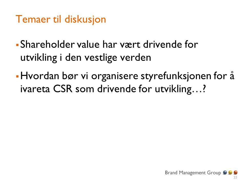Temaer til diskusjon  Shareholder value har vært drivende for utvikling i den vestlige verden  Hvordan bør vi organisere styrefunksjonen for å ivareta CSR som drivende for utvikling….