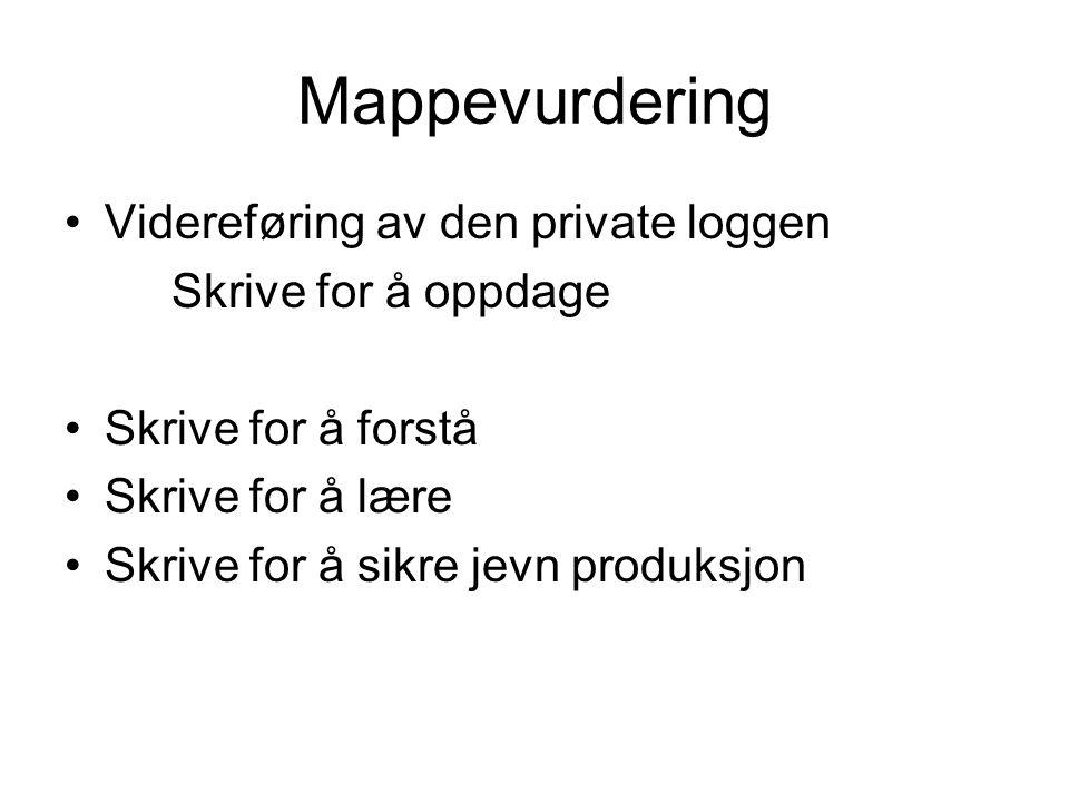 Mappevurdering Videreføring av den private loggen Skrive for å oppdage Skrive for å forstå Skrive for å lære Skrive for å sikre jevn produksjon