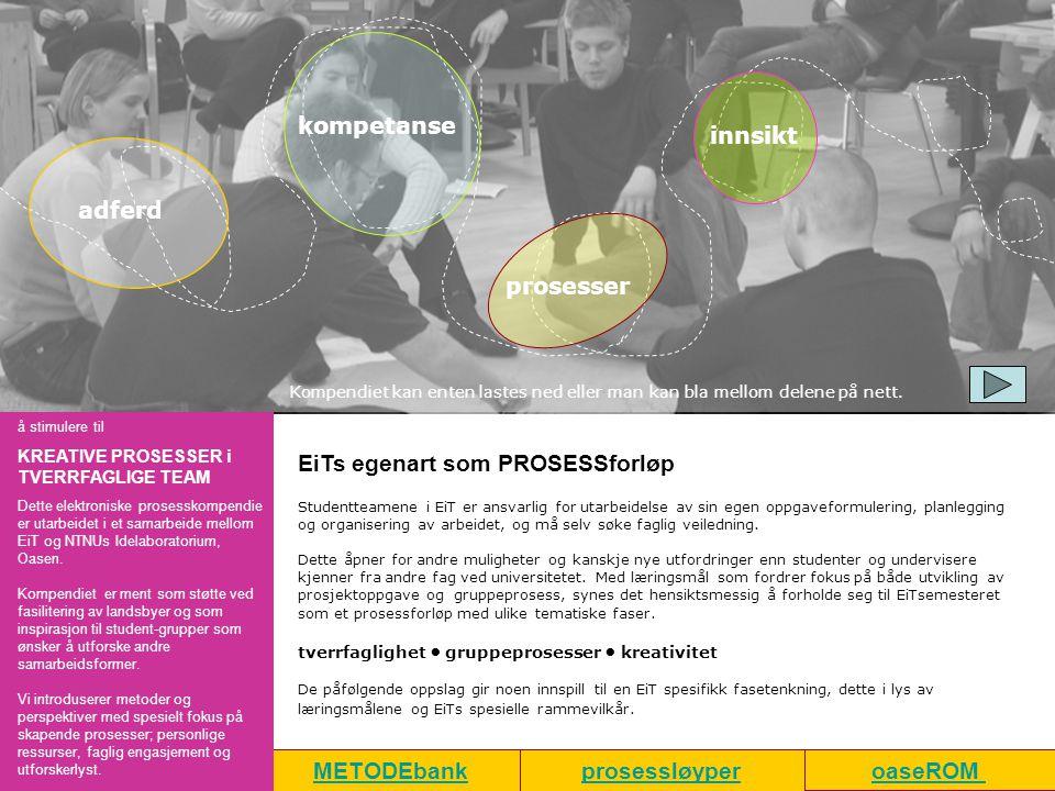 METODEbank EiTs egenart som PROSESSforløp Studentteamene i EiT er ansvarlig for utarbeidelse av sin egen oppgaveformulering, planlegging og organiseri
