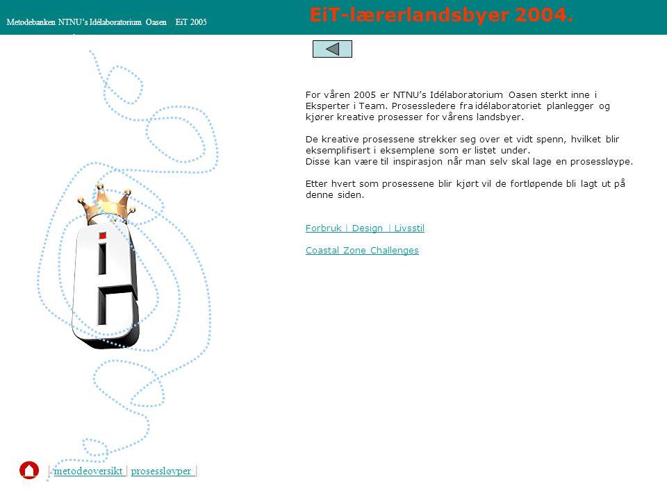 EiT-lærerlandsbyer 2004. Metodebanken NTNU's Idélaboratorium Oasen | EiT 2005 | metodeoversikt | prosessløyper | metodeoversikt prosessløyper For våre