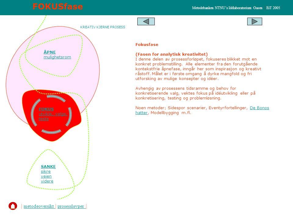 FOKUSfase Metodebanken NTNU's Idélaboratorium Oasen | EiT 2005 ÅPNE mulighetsrom FOKUS utvikle, velge, teste SANKE sikre veien videre Fokusfase (Fasen for analytisk kreativitet) I denne delen av prosessforløpet, fokuseres blikket mot en konkret problemstilling.