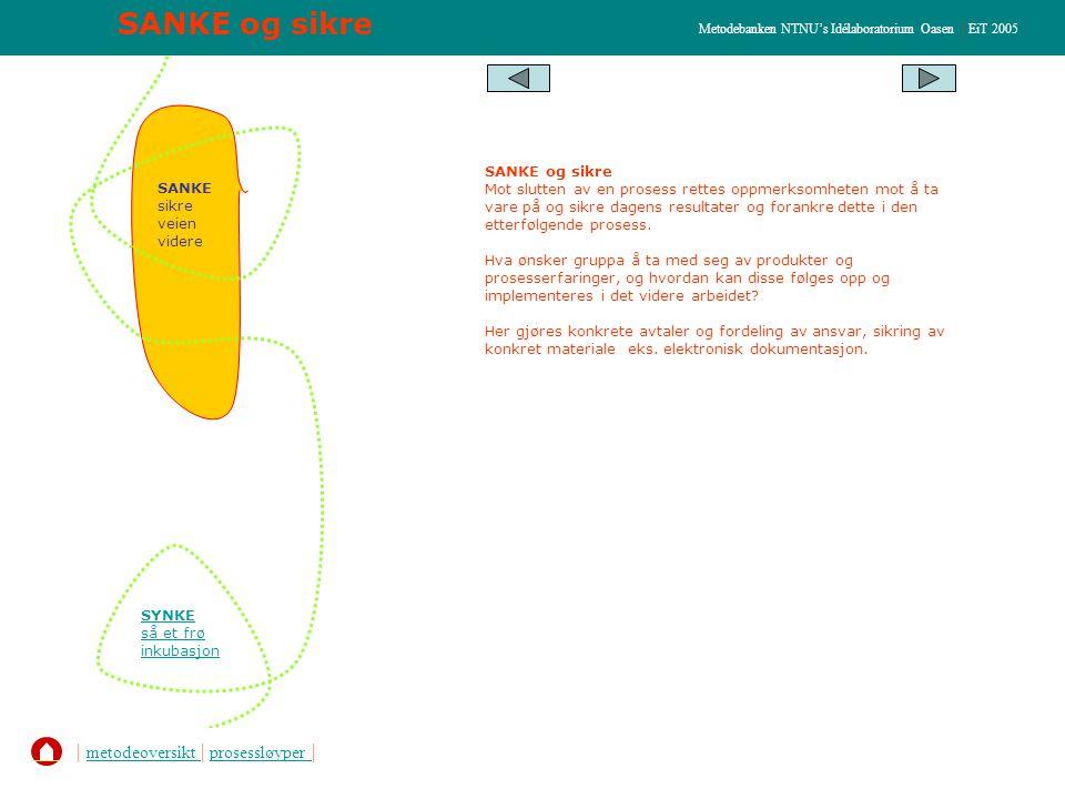 SANKE og sikre Metodebanken NTNU's Idélaboratorium Oasen | EiT 2005 SANKE sikre veien videre SYNKE så et frø inkubasjon SANKE og sikre Mot slutten av en prosess rettes oppmerksomheten mot å ta vare på og sikre dagens resultater og forankre dette i den etterfølgende prosess.