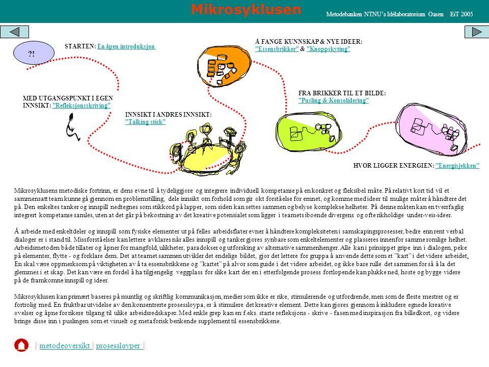 Mikrosyklusen HVOR LIGGER ENERGIEN: Energisjekken Energisjekken STARTEN: En åpen introduksjonEn åpen introduksjon MED UTGANGSPUNKT I EGEN INNSIKT: Refleksjonsskriving Refleksjonsskriving INNSIKT I ANDRES INNSIKT: Talking stick Talking stick Å FANGE KUNNSKAP & NYE IDEER: Essensbrikker & Knoppskyting Essensbrikker Knoppskyting FRA BRIKKER TIL ET BILDE: Pusling & Konsolidering Pusling & Konsolidering ?.