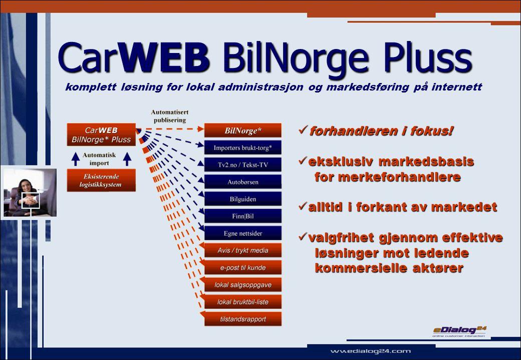 CarWEB BilNorge Pluss - hovednyheter I forkant av utviklingen I forkant av utviklingen ; Pluss-forhandlere vil alltid være i forkant av den markedsmessige- og teknologiske utviklingen  automatisk oppgradering til alle nye del- og hovedversjoner inkludert i prisen.