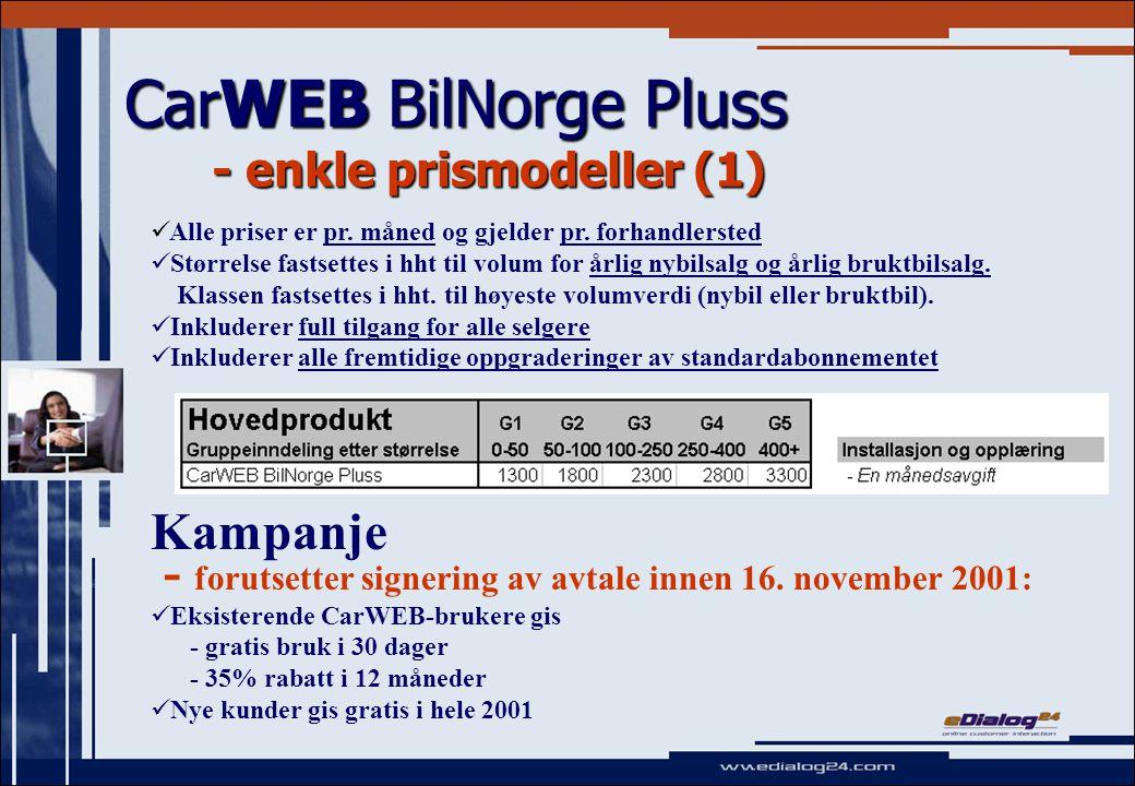 CarWEB BilNorge Pluss - enkle prismodeller (1) Kampanje - forutsetter signering av avtale innen 16.