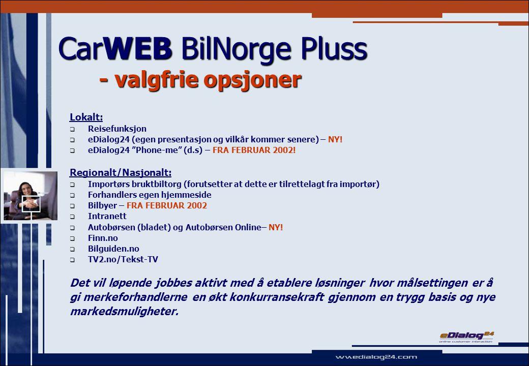 CarWEB BilNorge Pluss - valgfrie opsjoner Lokalt:   Reisefunksjon   eDialog24 (egen presentasjon og vilkår kommer senere) – NY.