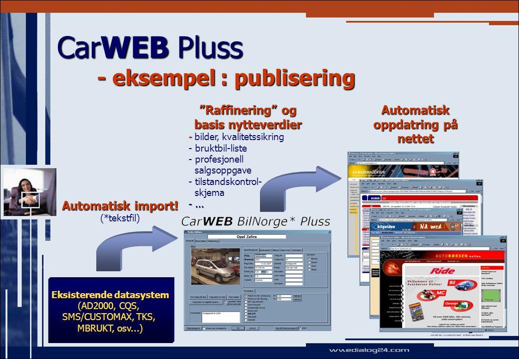CarWEB Pluss - eksempel : publisering Eksisterende datasystem (AD2000, CQS, SMS/CUSTOMAX, TKS, MBRUKT, osv...) Automatisk import.