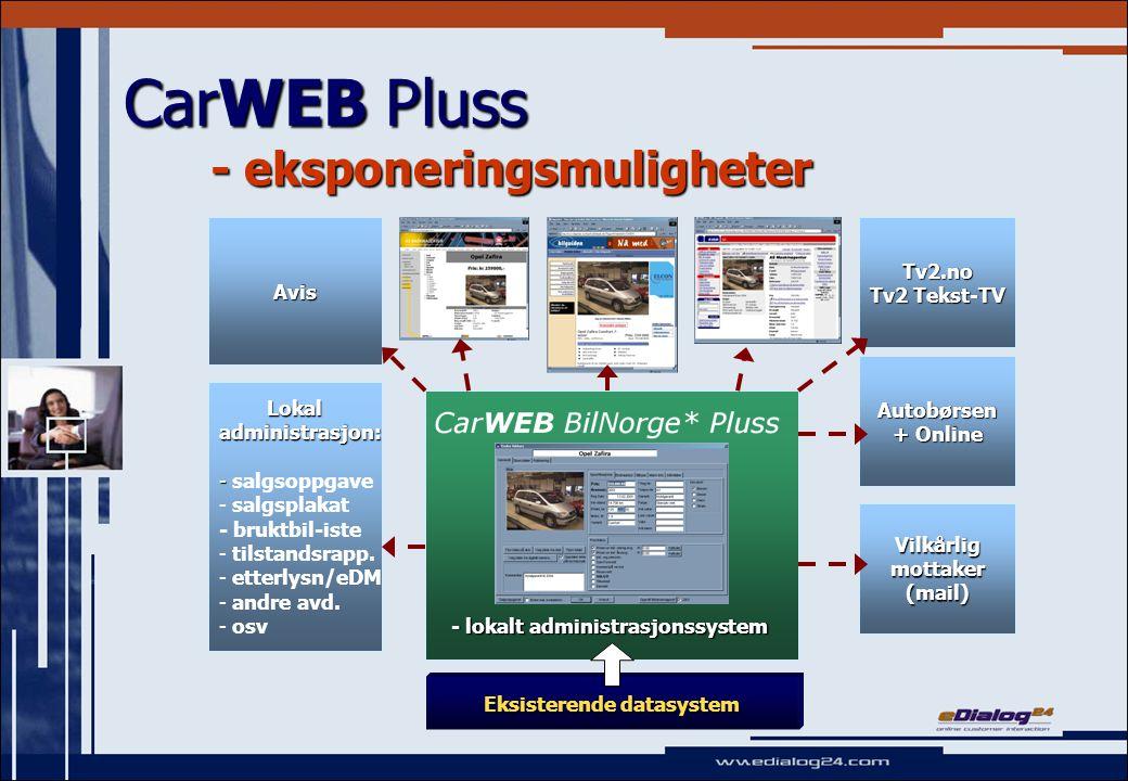 CarWEB Pluss - eksponeringsmuligheter Eksisterende datasystem Lokal Lokaladministrasjon: - - salgsoppgave - - salgsplakat - bruktbil-iste - - tilstandsrapp.