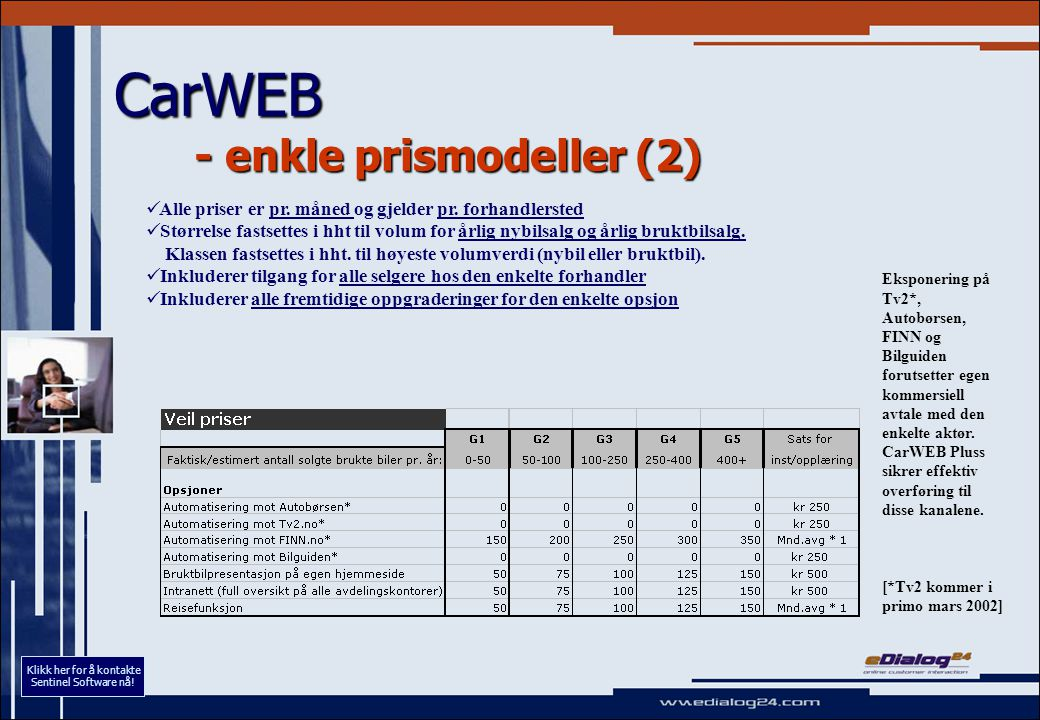 CarWEB - enkle prismodeller (2) Alle priser er pr. måned og gjelder pr. forhandlersted Størrelse fastsettes i hht til volum for årlig nybilsalg og årl