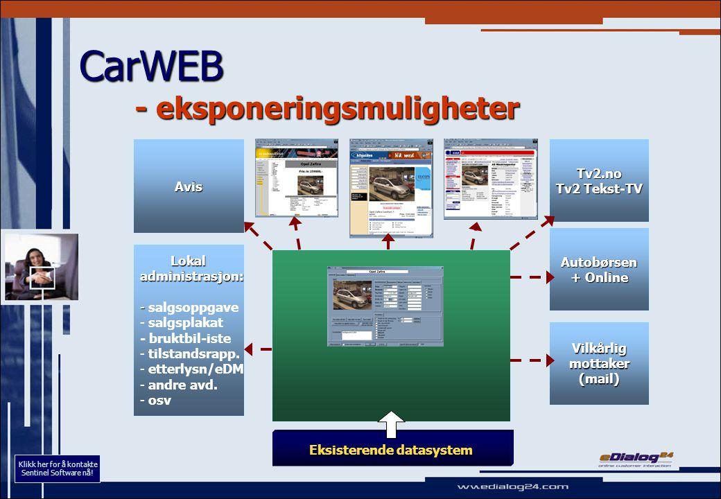 Avis CarWEB - eksponeringsmuligheter Eksisterende datasystem Lokal Lokaladministrasjon: - - salgsoppgave - - salgsplakat - bruktbil-iste - - tilstands